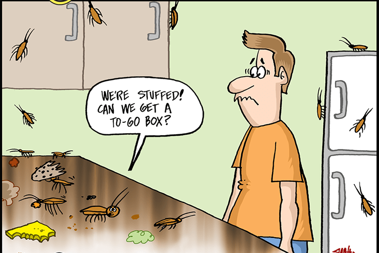 """Funny cockroach cartoon: Cockroaches in the kitchen. Cockroach says """"We're stuffed! Can we get a """"to-go"""" box?"""""""